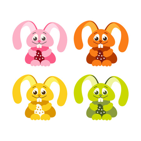 set of 4 fun Easter bunny with Easter eggs Illustration