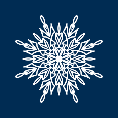 cold cut: Delicate white Christmas snowflake on blue background Illustration