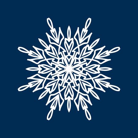 Delicate white Christmas snowflake on blue background Illustration