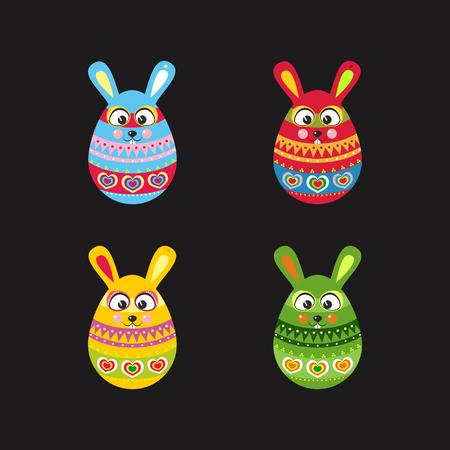 set of fun Easter rabbit like eggs black Illustration