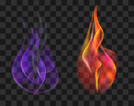 bengal fire: Two torches in red and blue gas flame set Stock vector
