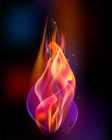 Fire torch vector colored sparks burn