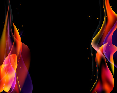 bengal light: Double fire torch vector colored sparks burn horizontal on black