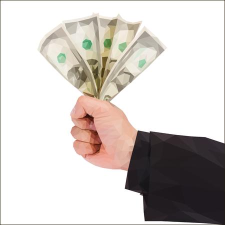 A polygonal hand holds money Çizim