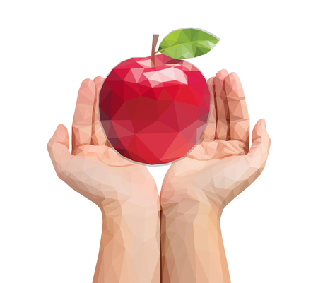 men polygonal hands cupped hold a huge apple