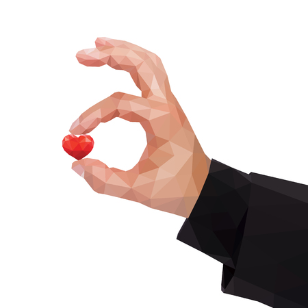 Human polygonal hand between two fingers holds a heart Illustration
