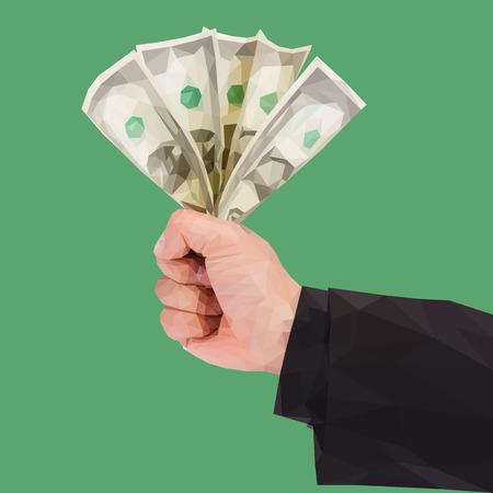 A polygonal hand holds money on green Çizim