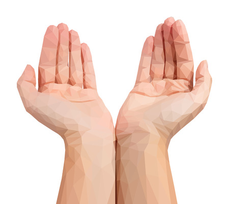 Empty human polygonal hands cupped