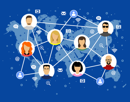 Avatar vector image human faces internet icons on the world map Çizim
