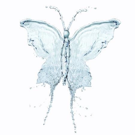 Butterfly made of water splashes isolated on white background