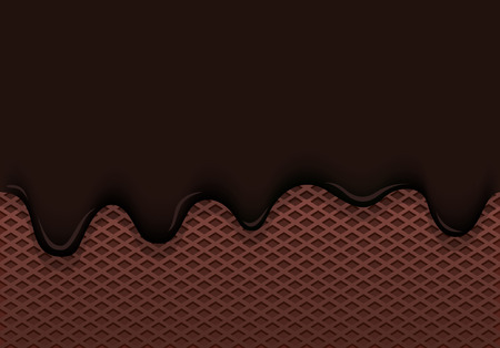 chocolate ice cream leaks from a chocolate waffle cup vector illustration Çizim
