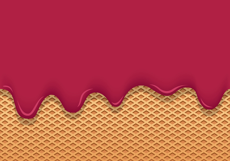 ice cream pink flows through wafer cup and vector texture