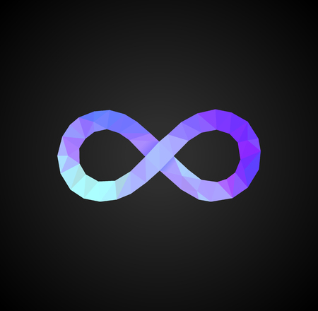 polygonal infinity sign full-colored on a black background