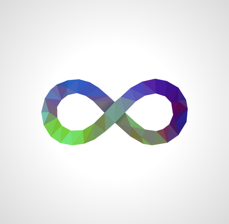 polygonal infinity sign full-colored on a light background Çizim