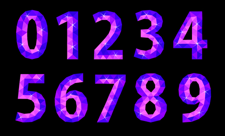 set of polygonal number of cold shade signs on a black background