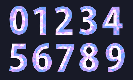set of polygonal number of cold shade signs on blue background