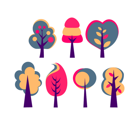 set of trees with big crown vector abstract drawing Çizim