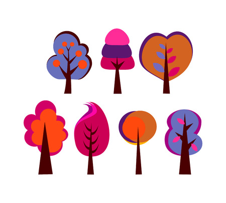 set of trees with big crown vector abstract drawing brown