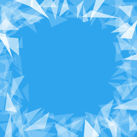 blue background with translucent triangles with a clean center