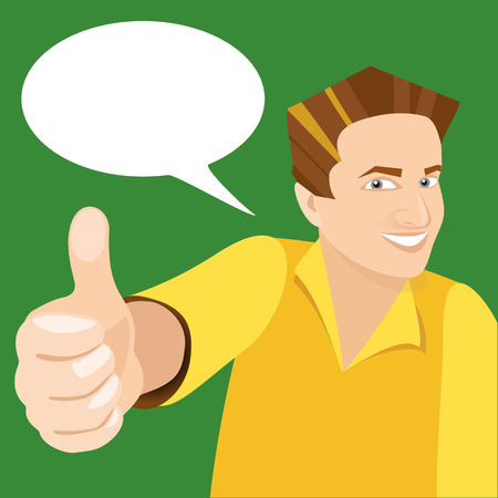 vector white man holding like finger up and smiling on green