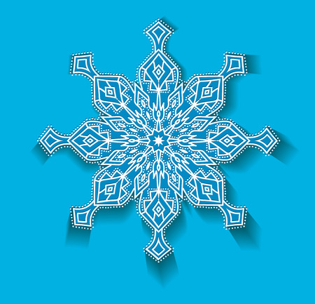 BIG vector snowflake white on a blue background isolated