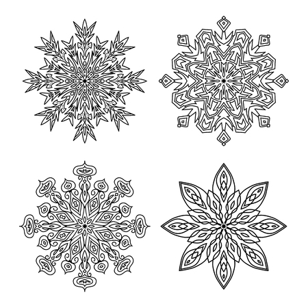 template new year christmas snowflakes isolated black outline on white