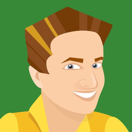 vector white man smiling business avatar on green Çizim