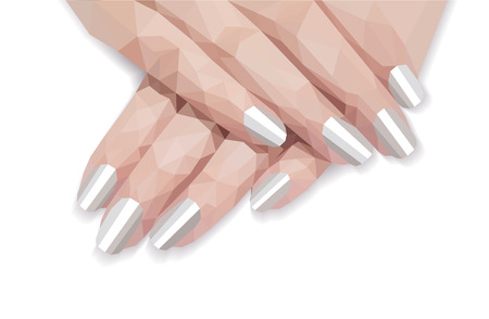 A polygonal arm pattern for manicure of female hellac white