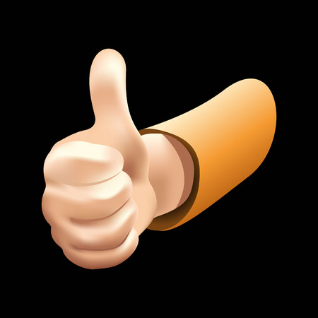 vector hand that shows the thumb up like a like on black