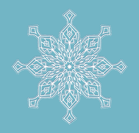 BIG vector snowflake white on a blue background isolated on blue Stok Fotoğraf - 109635833