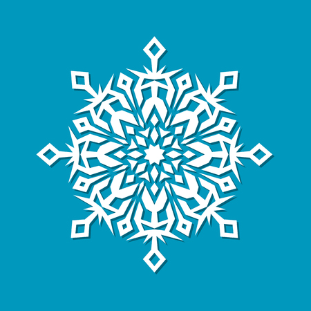 template new year christmas snowflakes isolated on blue