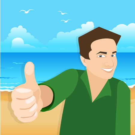 vector white man holding like finger up and smiling on beach