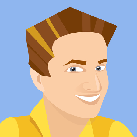 vector white man smiling business avatar on blue