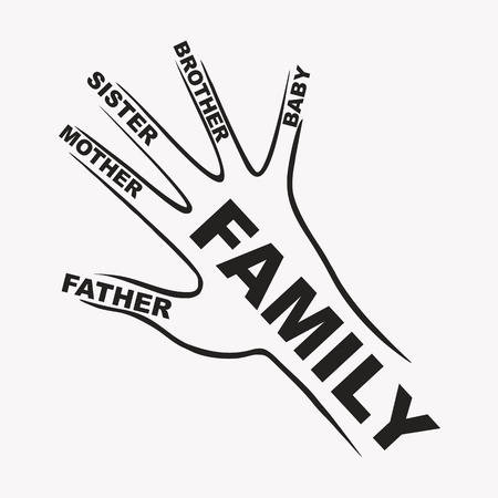 the name of the fingers of the hand dad mom sister brother Ilustracja