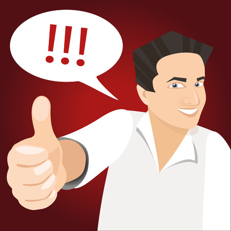 vector white man holding like finger up and smiling at red
