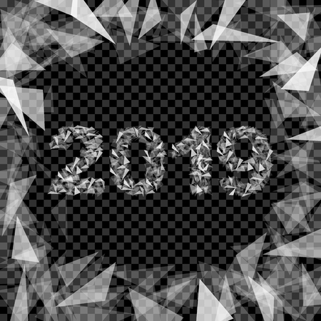 2019 new year number composed of triangles translucent insulated with highlights border Stok Fotoğraf - 110033909