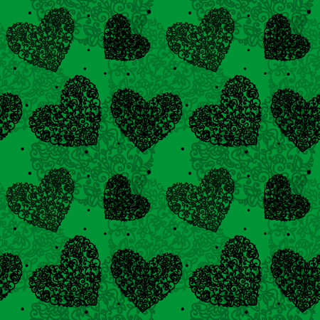 seamless pattern heart drawn curls black on green background sm