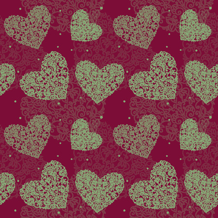 seamless pattern heart drawn curls white on cherry background sm