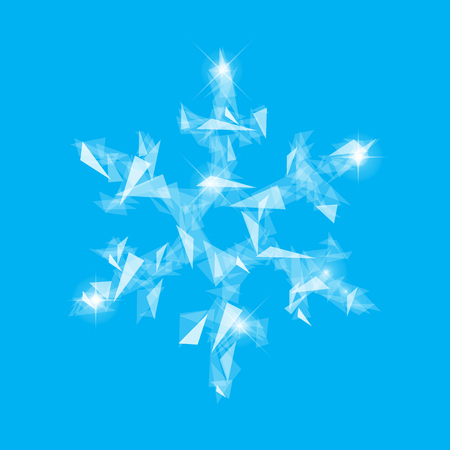 polygonal snowflakes symbol of winter from fragments of glass translucent on a blue background Ilustracja