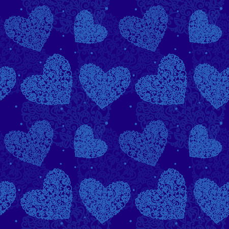 seamless pattern heart drawn curls white on blue background sm