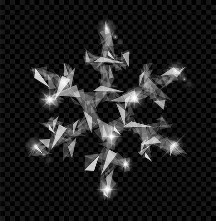 polygonal snowflakes symbol of winter from fragments of glass translucent isolated Stok Fotoğraf - 110033926