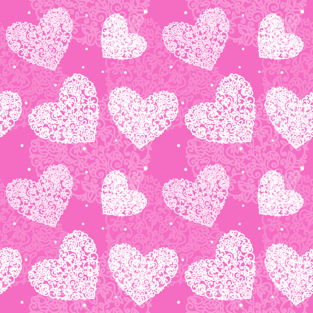 seamless pattern heart drawn curls white on purple background sm