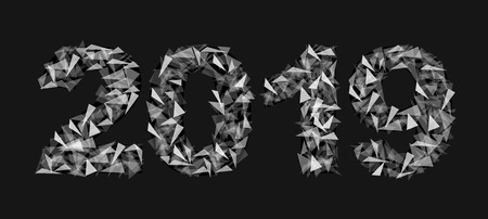 2019 new year number made up of triangles translucent isolated rectangular black
