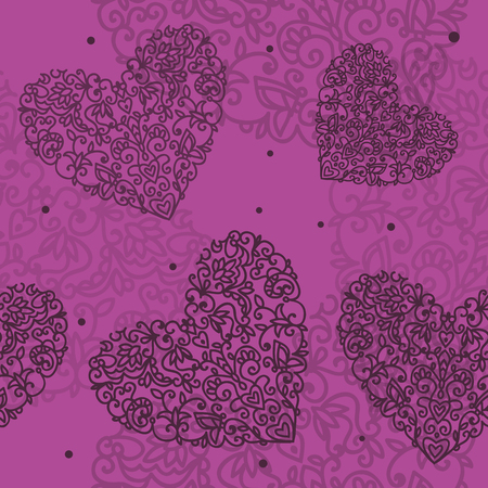 seamless pattern heart drawn curls on purple background