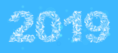 2019 new year number made up of triangles translucent isolated rectangular light blue
