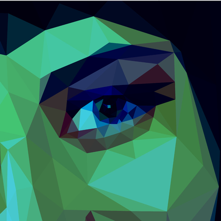 polygonal eye of a beautiful girl full color blue