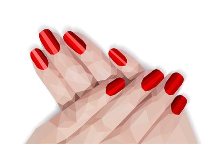 polygonal feminine manicure red nails shellac gel polish pattern