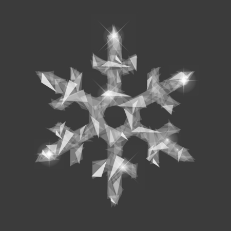 polygonal snowflakes symbol of winter from fragments of glass translucent on dark blue background