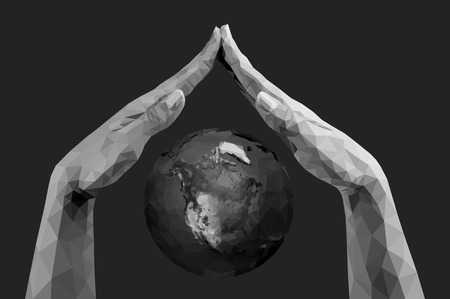 vector polygonal hands folded together like a roof covering the planet earth monochrome
