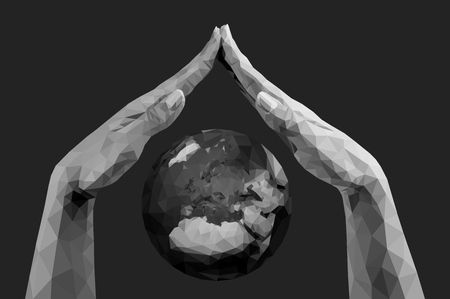vector polygonal hands folded together like a roof covering the planet earth monochrome Stok Fotoğraf - 111415359
